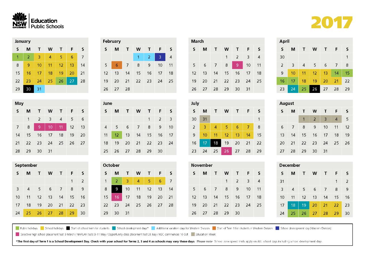 2017 NSW Public Schools Calendar - Burraneer Bay Public School